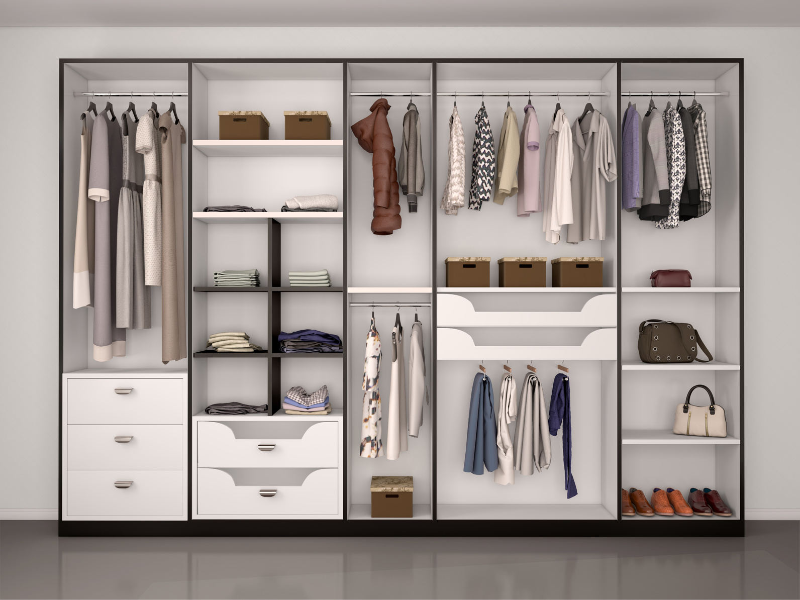 black and white wardrobe closet full of different things. 3d ill